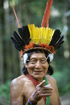 Suriname, Kwamalasamutu, Trio Indian in ceremonial dress. Portrait.