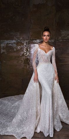 Long sleeves heavy embellishment fit and flare wedding dress detachable skirt  : Crystal Design wedding gown #weddinggown #weddingdress #bridalgown