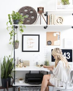You don't need a lavish budget to create a great home office. Here are some easy home office decorating ideas that you can use to help maximize your office's style and function. You spend long hours in your home office, Home Office Space, Home Office Design, Home Office Decor, House Design, Office Ideas, Office Furniture, Workspace Design, Office Designs, Desk Space