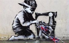 Kate Parratt - New Banksy Diamond Jubilee Sweatshop Kid Artwork. This image grabbed my attention because it shows the reality of child labour and should have an impact on the public.