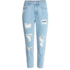 Mom Jeans Trashed $39.99 (£31) ❤ liked on Polyvore featuring jeans, pants, bottoms, calças, high waisted destroyed jeans, ripped jeans, high waisted distressed jeans, distressing jeans and blue jeans