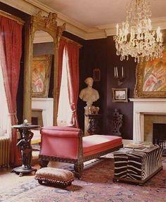 Interior of one of artist hunt slonem's homes