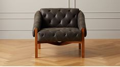 Abruzzo Black Leather Tufted Chair with Brown Legs |