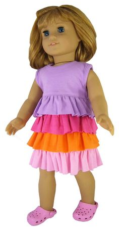 """DEAL!! Adorable Knit Ruffle Dress & Kroc Shoes made for 18"""" American Girl Dolls #Unbranded"""