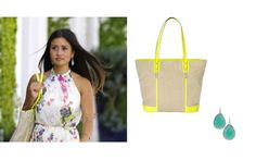 Celebrity Style | Stella & Dot Catherine Guidici carrying The Classic (tote) & wearing the serenity stone drop earrings in aqua