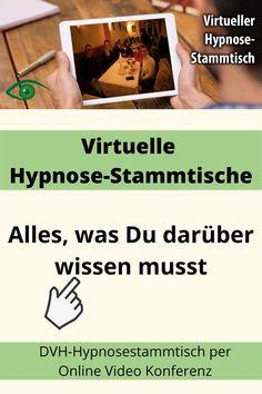 Virtueller DVH-Hypnosestammtisch - Alles, was Du darüber wissen musst! - Hypnose-Stammtisch Online von Deutscher Verband für Hypnose e.V. (DVH). Hypnose-Stammtische sind eine schöne Art von Networking. In Zeiten der Corona Ausgangsbeschränkung heißt es Umdenken, daher gibt es jetzt virtuelle Hypnose-Stammtische die online stattfinden. Wie es funktioniert, was Du wissen musst, klicke jetzt! #hypnosestammtisch #dvh #hypnose #hypnosetherapie #hypnotherapie #showhypnose #hypnoseshow… Coaching, Videos, Corona, Small Talk, Holistic Practitioner, Mental Health Therapy, Further Education, Video Clip