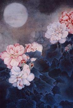 月亮 - yuè liàng - moon.  By Zhou Zhongyao, 周中耀.