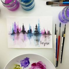 Maremis_small_art) watercolor drawing, how to watercolor, watercolor projec Watercolor Art Diy, Watercolor Art Lessons, Watercolor Art Paintings, Watercolor Artists, Watercolor Techniques, Watercolors, Small Paintings, Watercolor Pencil Art, Watercolour Drawings