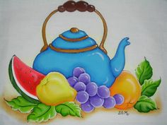 Lili e a Arte: Bule Tulip Painting, Flower Painting Canvas, Fabric Painting, Stone Painting, Fruit Basket Drawing, Drawing For Kids, Art For Kids, Desert Drawing, Mushroom Drawing