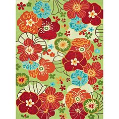 I love this turquoise, orange, red, lime green peony rug