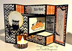 Stampin' Up! Owl Punch Halloween card idea by lucia Tri Fold Cards, Fancy Fold Cards, Folded Cards, Fröhliches Halloween, Halloween Paper Crafts, Halloween Treats, Cricut Halloween Cards, Halloween Pop Up Cards, Halloween Makeup