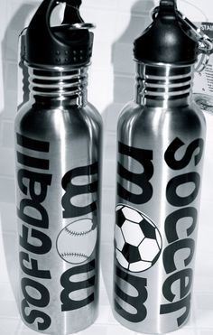 Soccer Mom / Sports Mom / Band Mom / Dance Mom-- Personalized Water Bottles. $15.00, via Etsy.