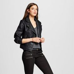 Women's Faux Leather Moto Jacket - Mossimo™
