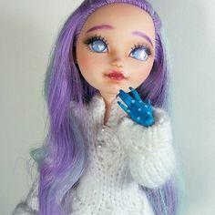#Carmazin #doll #faceup #repaint #repainteddoll #pastel #eahdolls #maddiehatter #purplehair #purpleeyes #glitter
