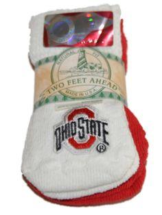 Ohio State Buckeyes Two Feet Ahead Infant Baby Newborn 3 Pair Socks Pack
