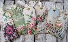 Vintage shabby wallpaper tags for gifts or journaling