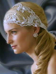 Bridal Headband Embellished Split Lace Ribbon by LucysBridalCloset, $105.00 Diy Headband, Lace Ribbon, Diy Clothes, Wedding Hairstyles, Great Gifts, Trending Outfits, Bridal, Unique Jewelry, Celebrities