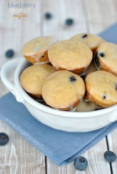 Blueberry Donut Muffins with Vanilla Glaze: little bites of deliciousness!