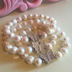 Pulseras de perlas cultivadas y separadores con microcircones by Luz Marina Valero