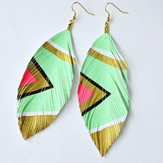 Neon Aztec - Seafoam - Hand Painted Faux Leather Feather Earrings