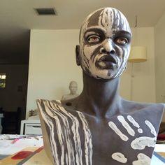 Ceramics, figurative sculpture in progress by Fiona Signorini Jacquelin Moving To Miami, Figurative, Futuristic, Sculpting, Sculptures, Vibrant, African, Inspire, Letters