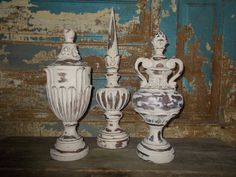 Distressed Ornate Finials (set of 3)