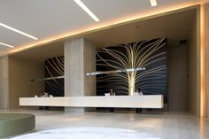 Beautiful contemporary landscape painting, backlit at backdrop. East Hotel by CL3 Architects @ Contemporist #Hospitality