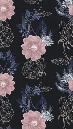 Download premium image of Hand drawn dull pink and gold flower pattern on a black background by Benjamas about gold leaves iphone, iphone wallpaper, dark flower background, iphone wallpaper flowers, and peonies pattern 2405273