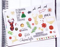 Christmas Sampler Planning Reminder Stickers - Erin Condren, KikkiK, Filofax Planners and Midori Notebooks 2107  These cute sampler has everything you need to deck out your planner with holiday cheer! You can order multiple sticker sheets and we do NOT charge extra postage for each additional. They are perfectly sized to fit in the weekly boxes of your Erin Condren planner, Plum Paper planner, Filofax or really any other planner where you can customize with event stickers and reminder…
