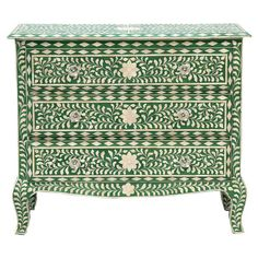Showcasing an ornate bone inlay and green finish, this lovely 3-drawer chest is perfect for resting a vase of vibrant blooms in the entryway or stowing spare...