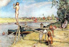 Carl Larsson (May 1853 – January was a Swedish painter and interior designe. Carl Larsson, Carl Spitzweg, Anton Pieck, Scandinavian Art, Scandinavian Christmas, Large Painting, Museum Of Fine Arts, National Museum, Watercolor Print