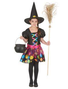 Déguisement sorcière colorée fille : Ce déguisement de sorcière est pour fille et se compose d'une robe, d'une ceinture et d'un chapeau (chaudron, balais, collants et chaussures non inclus).La robe est noire...