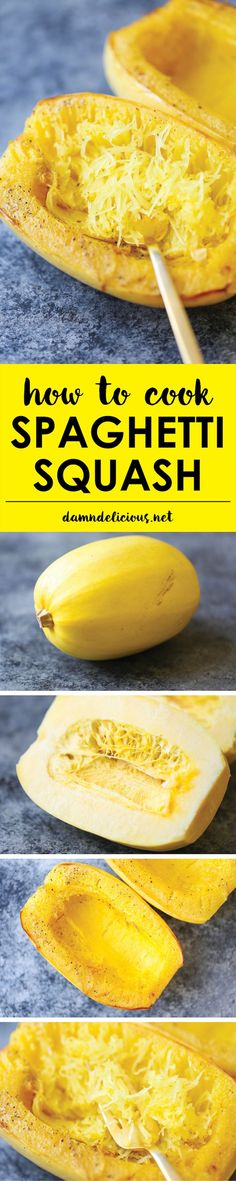 How to Cook Spaghetti Squash - The simplest and EASIEST way to cook spaghetti squash. And it's low in fat and rich in protein! Only 31 calories/serving!  -  veggie, olive oil, spice.  healthy, easy, frugal, want!   lj