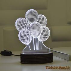 Tahtamoda 3D 3 Boyutlu Dekoratif Led Lamba Balonlar - tht3d8