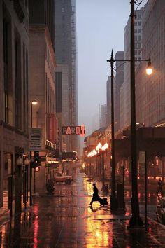 Photo of Rainy City Street by Christophe Jacrot. Rainy Night, Rainy Days, Night Rain, Christophe Jacrot, City Aesthetic, Concrete Jungle, City Photography, Amazing Photography, City Streets