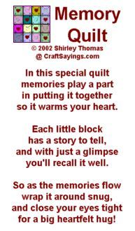 Are you forever sewing a community quilt/poem?