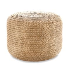 Natural Braided Indoor-Outdoor Ottoman | Fresh American