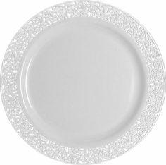 9  Lace White / White Plastic Lunch/Dinner Plates - BLOWOUT  sc 1 st  Pinterest & Elegant Disposable Place Settings | Pinterest | Elegant Crystals ...