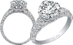 Neil Lane finely detailed diamond and platinum ring