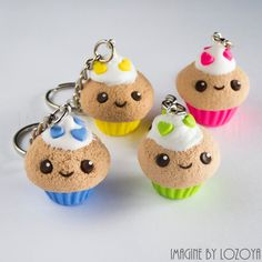 Cupcake kawaii llavero/colgante