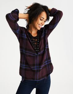 American Eagle Outfitters AE Lace-Up Flannel Pullover Shirt New Outfits, Cute Outfits, Mens Outfitters, Eagle Outfitters, Shirt Shop, Autumn Fashion, Lace Up, Clothes For Women, My Style