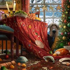 Christmas Dinner – Signed Limited Edition by Stephen Hanson – Complimentary Mounted – Framed Artwork – FREE UK Courier Delivery – Diane Hutt Gallery Dog Illustration, Illustrations, Animation Creator, Street Art, Limited Edition Prints, Dog Art, Framed Artwork, Giclee Print, Fantasy Art