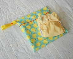 11x11 Duckie Reusable Wet Bag  Zippered Hanging Wet by WetBagIt, $13.99