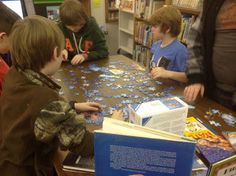 The Librarian at Curtis Elementary Library in Texas set up centers in her library that she rotates every few weeks. She has lots of ideas and suggestions. Would love to add this idea to our library plan (I think I'll start with the puzzle table).