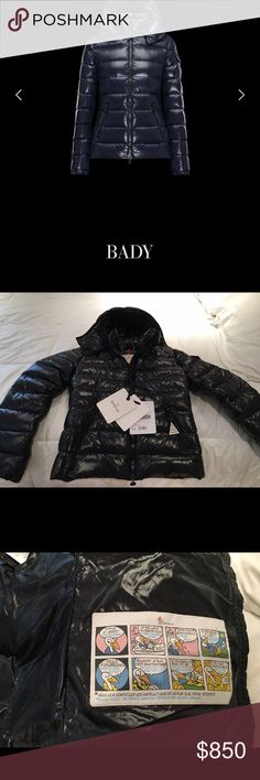 100% authentic Moncler Bady jacket in navy! This Moncler Bady jacket is still on their website retailing for $1,045 and you can verify serial number in their website. NWT, fits size XS (size 0) and it was slightly too tight on me which is why I'm selling. Navy blue. This is my lowest price on here because of fees so please no offers, but feel free to ask questions! Moncler Jackets & Coats Puffers
