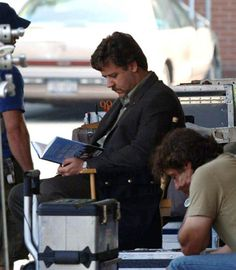 Russell Reads :)   Set Photo from the film Tenderness starring Russell Crowe
