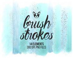 Pastel Brush Strokes Clip Art, Cyan Brush Strokes Glitter Clipart, Brush Clipart, Watercolor Brush, Scrapbooking Clipart, Design Clipart