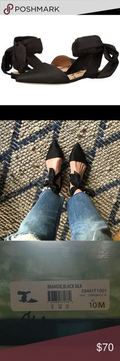 Sam Edelman Brandie Ankle Tie Flat Excellent condition, size 10 women's Sam Edelman Brandie ankle tie flat in black. Ankle ties can be tied in front, on the side or in back. Worn only once, true to size. Sam Edelman Shoes Flats & Loafers