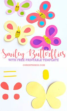 Smiley butterflies paper craft with butterfly template free printable # crafts Paper Butterfly Crafts, Paper Crafts Origami, Paper Crafts For Kids, Paper Flowers Diy, Diy Arts And Crafts, Paper Butterflies, Printable Crafts, Templates Printable Free, Owl Templates