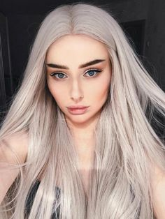 Blonde Wigs for Women Lace Front Wigs Synthetic Platinum Blonde Dark Brown Root Ash Blonde Ombre 2 Tone Color Light Ash Blonde, Ash Blonde Hair, Synthetic Lace Front Wigs, Synthetic Wigs, Wig Hairstyles, Straight Hairstyles, Platinum Blonde Ombre, Silver White Hair, Grey Wig
